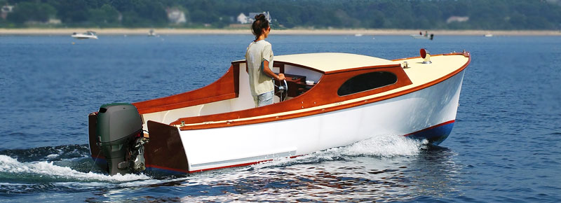 Lady Driving Outboard Boat